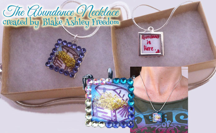 "A beautiful jewelry necklace with colored gems around the border with a picture of a treasure chest full of glitter gold with a message on the back that reads ""Abundance is here"". It shows two different styles, one close-up and the necklace being worn."