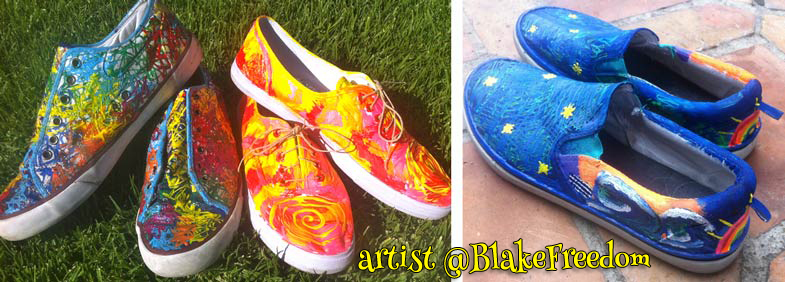 Two pictures of different shoes, on the left lace up ked tennis shoes painted in fire colors and rainbow like tie dye lava shoes. On the right, Mens slip on shoes painted with a blue starry sky and waves on a beautiful orange sunset with a rainbow on the back. Dreamy.
